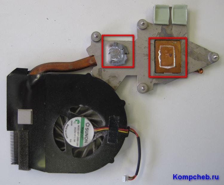 Радиатор охлаждения с высохшей термопастой