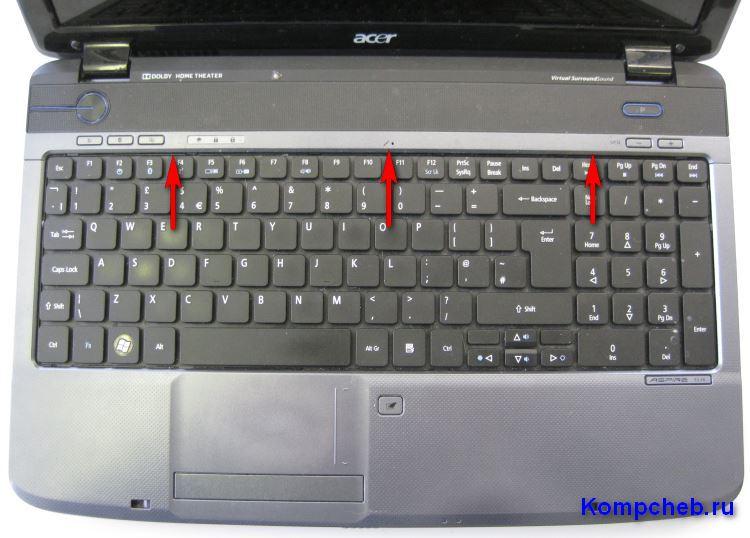 Указаны защелки верхней панели над клавиатурой Acer Aspire 5536