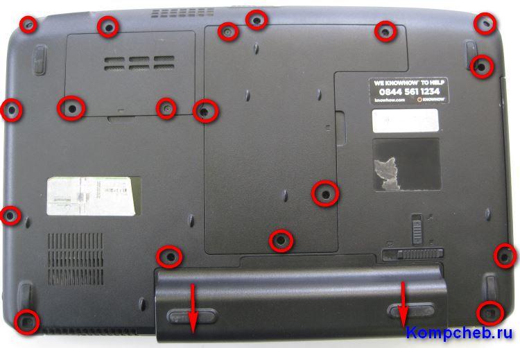 Задняя крышка ноутбука Acer Aspire 5536