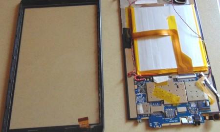 дисплей вместе с аккумулятором и системной платой