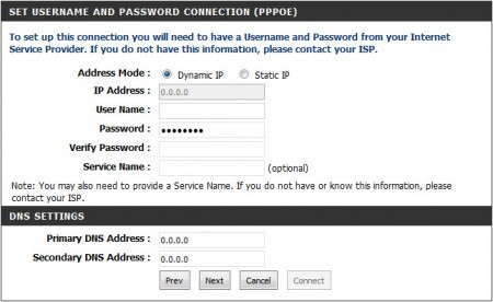Set Username and Password Connection (PPPoE)